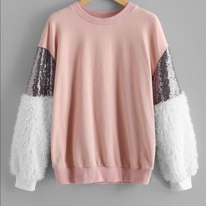 Oversized Sweater with glitter sleeves